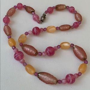 Vintage Pink Art glass beaded necklace.